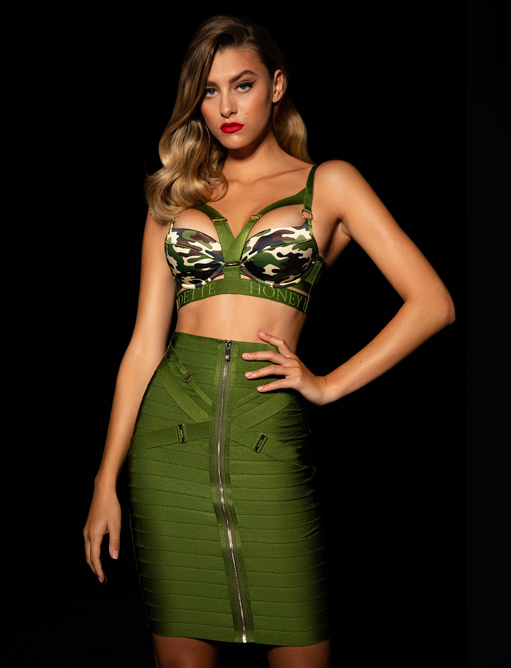 Elvis Camo Bra & Skirt Set