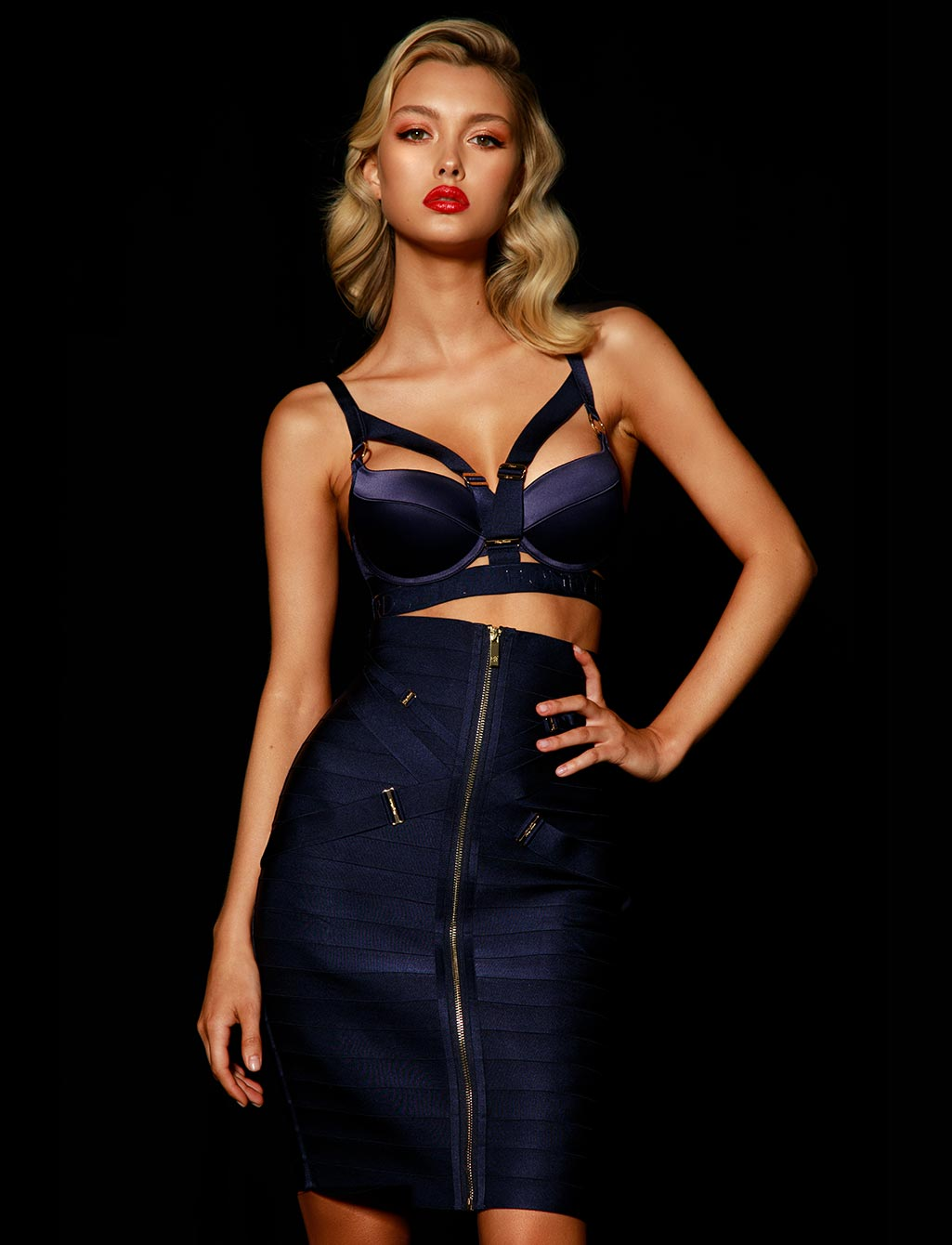 Elvis Navy Skirt Lingerie Set - Shop  Lingerie | Honey Birdette