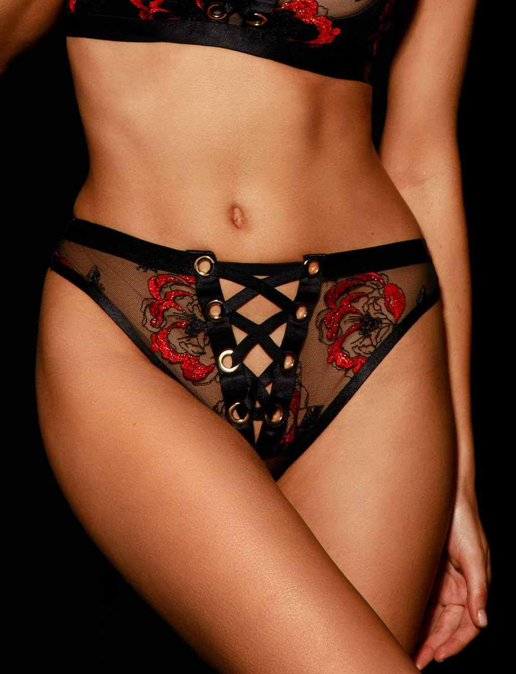 Freyah Black & Red Brief - Shop Briefs | Honey Birdette