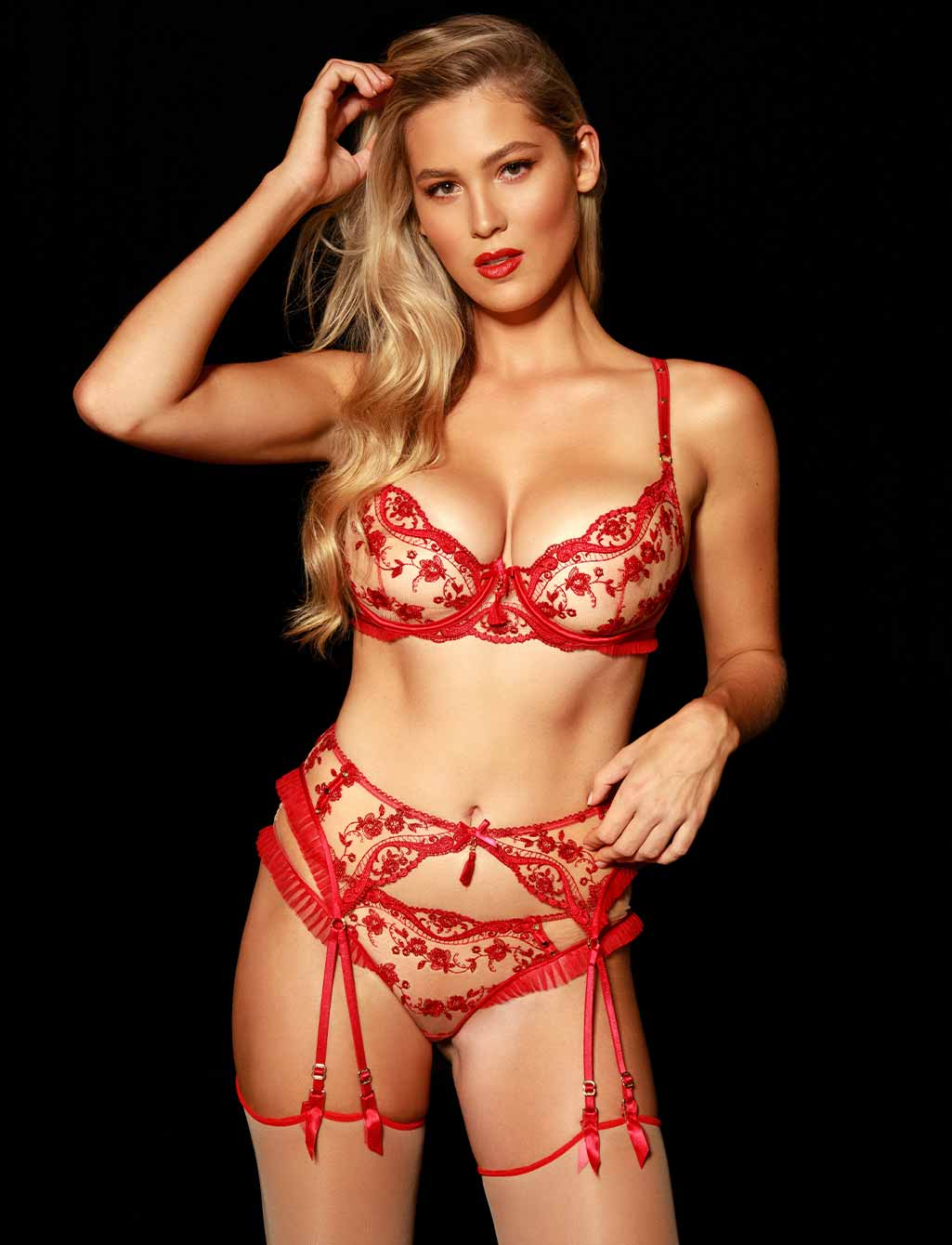 Frida Red Lace Suspender - Shop Lingerie | Honey Birdette