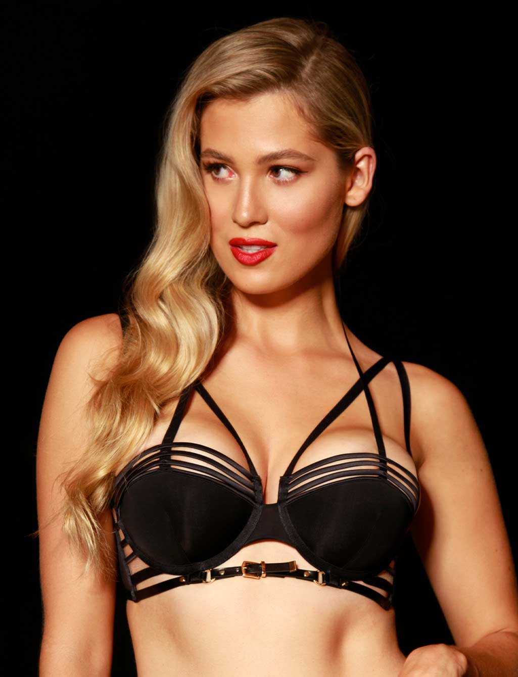 Jagger Black Strap Push Up Bra | Shop  Lingerie Honey Birdette