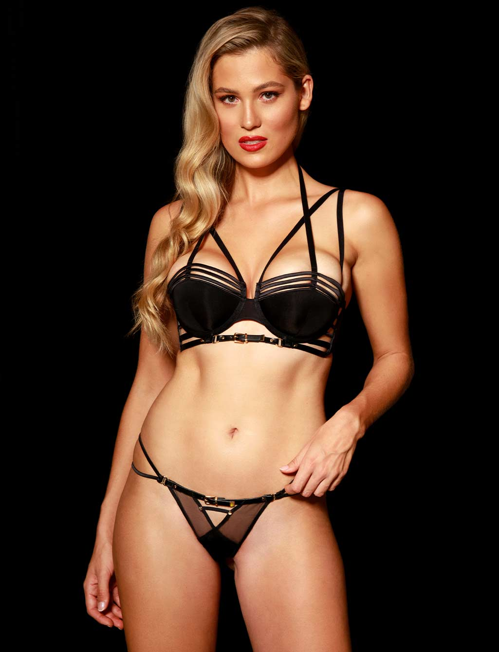 Jagger Black Strap Thong | Shop  Lingerie Honey Birdette