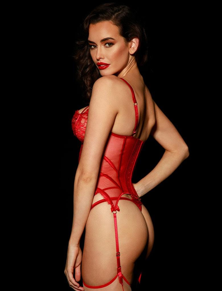Jessica Red Bustier Set