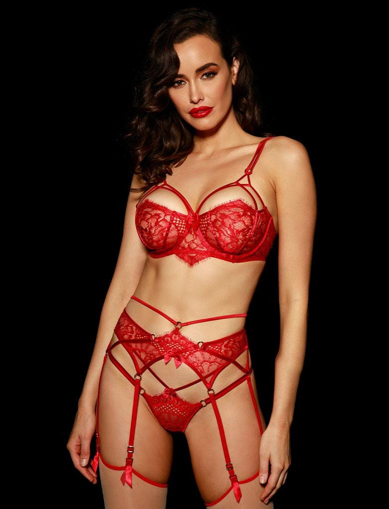 Jessica Red Suspender Set