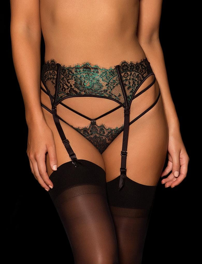 Julienne Green Lace Garter Belt - Shop Lingerie | Honey Birdette Australia