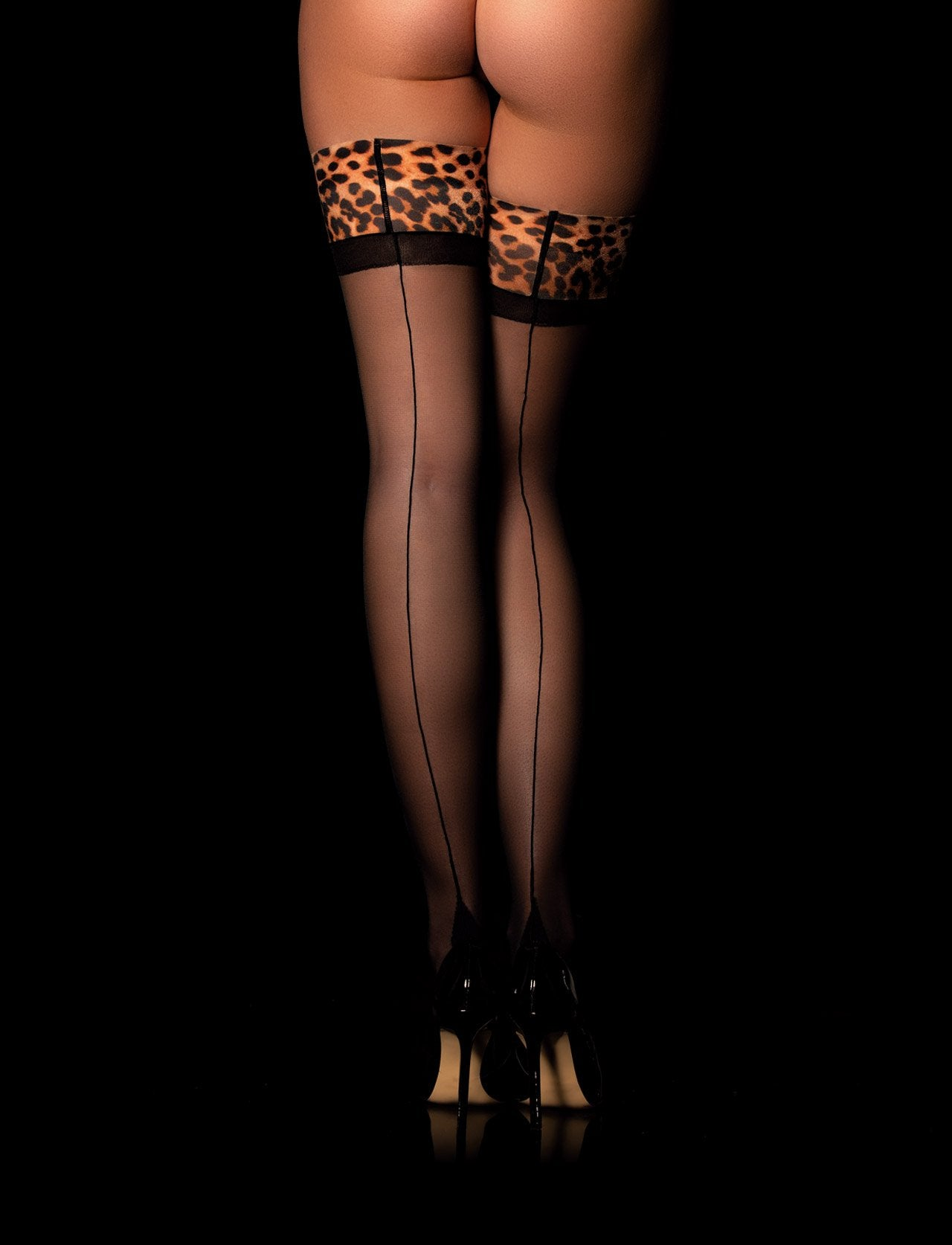 Kukuro Leopard Stay-Up - Shop Hosiery | Honey Birdette