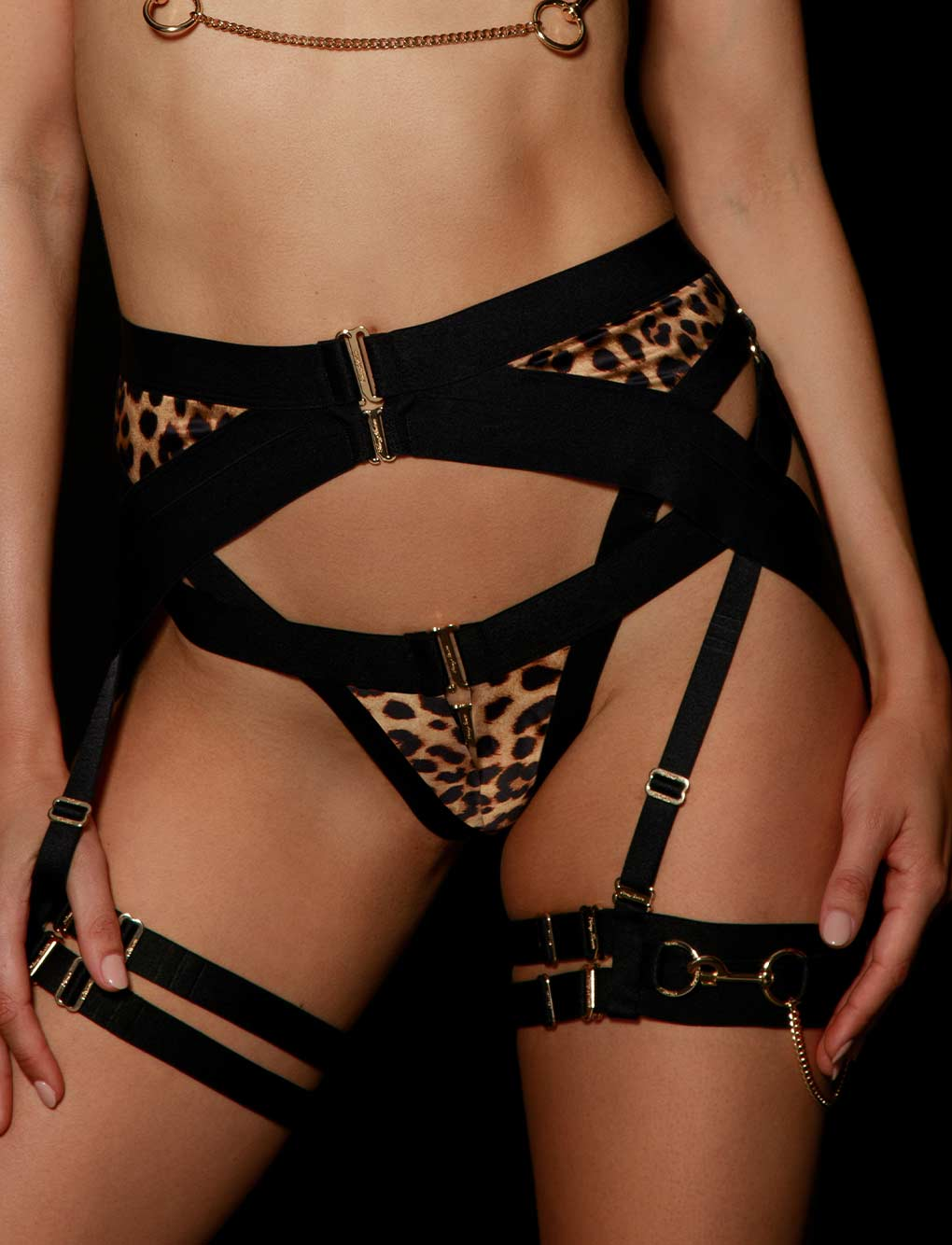 Kukuro Leopard Suspender | Shop Suspenders | Honey Birdette