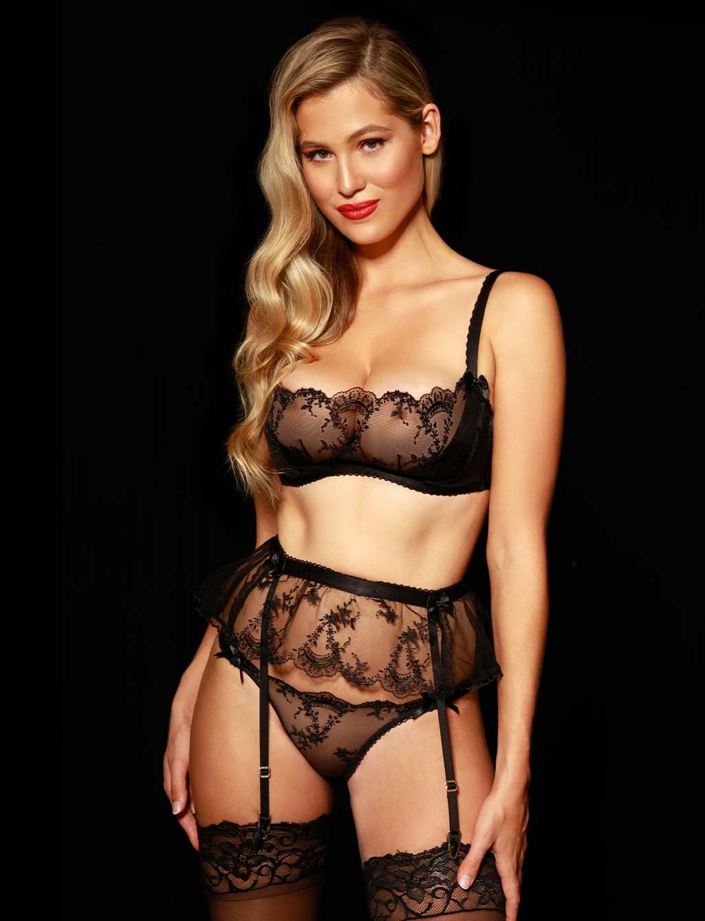 Layla Black Lace Babydoll Suspender | Shop  Lingerie Honey Birdette