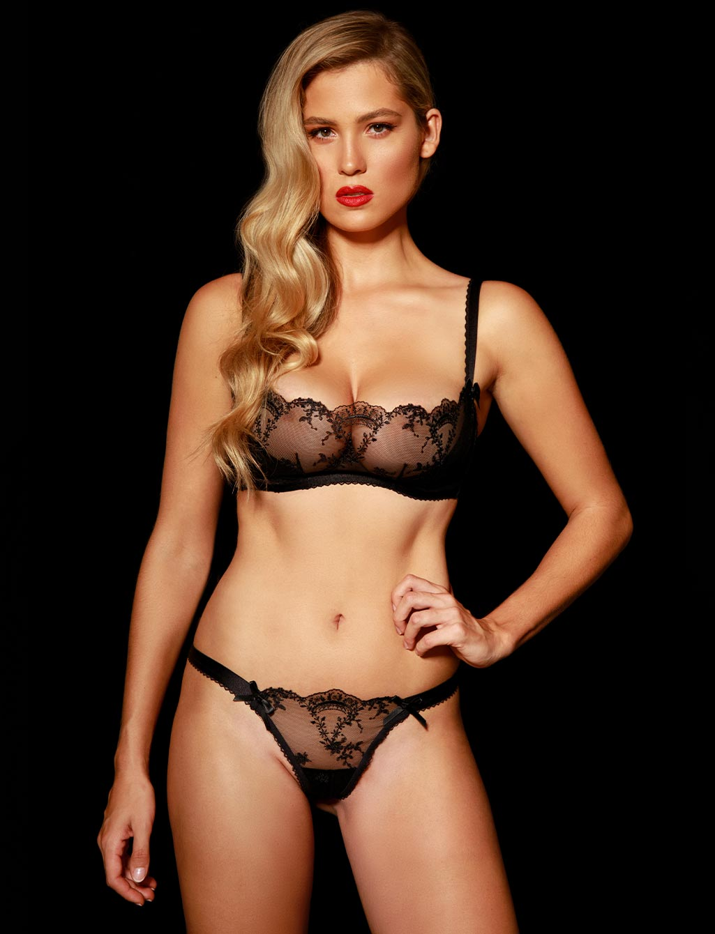 Layla Black Lace Babydoll Thong | Shop  Lingerie Honey Birdette