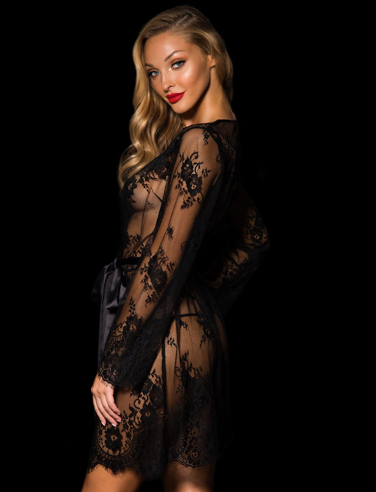 Black Love Lace Robe