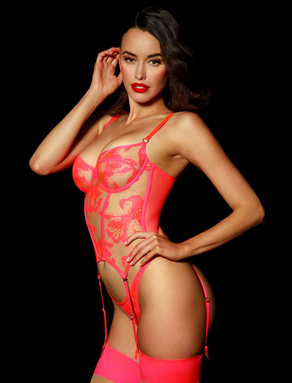 Marivie Pink Lace Bustier | Shop Corsets & Bodysuits | Honey Birdette