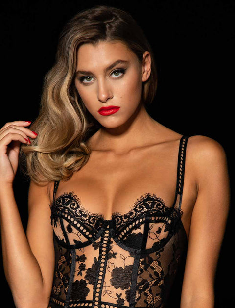 Molly Black Bustier Set