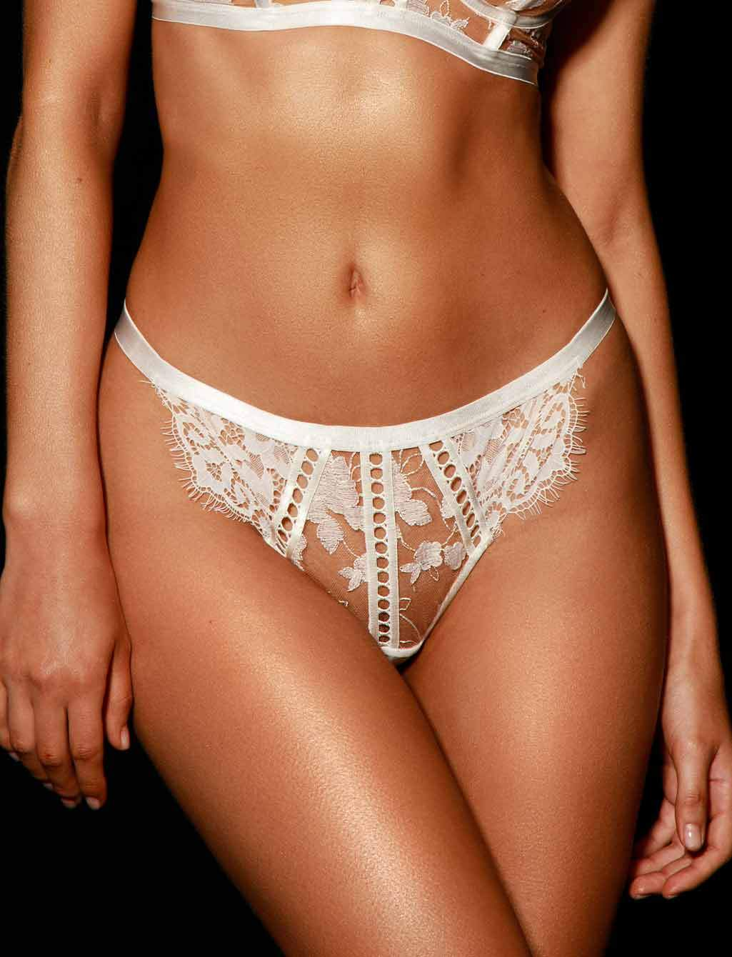 Molly Ivory Lace Thong