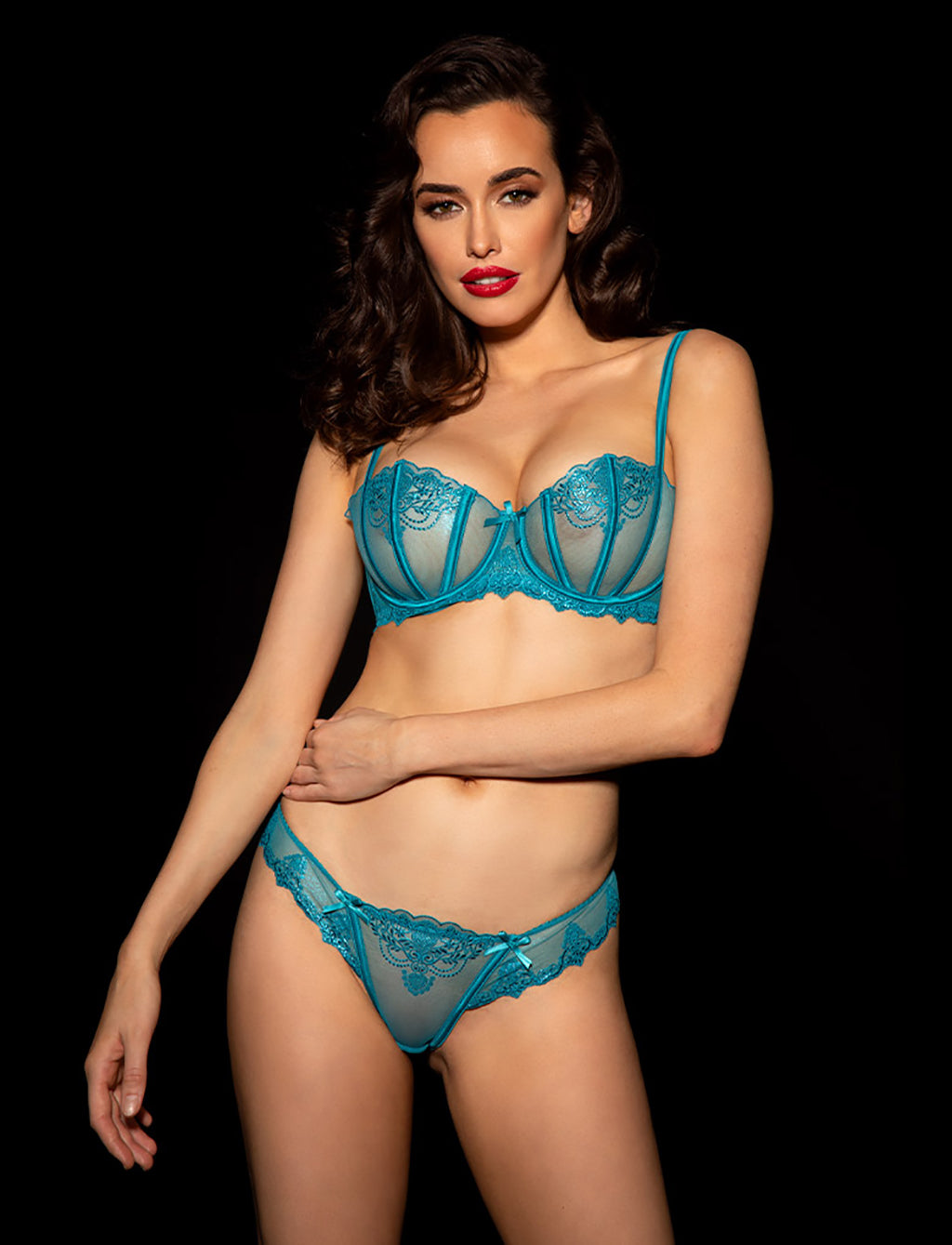 Natalie Teal Bra & Brief Set