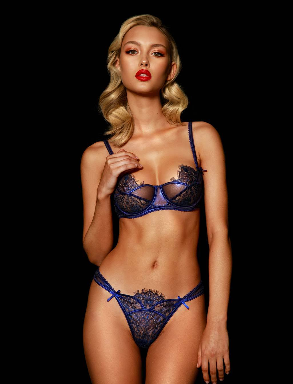Roisin Regal Blue Lace Thong G String - Shop Lingerie | Honey Birdette