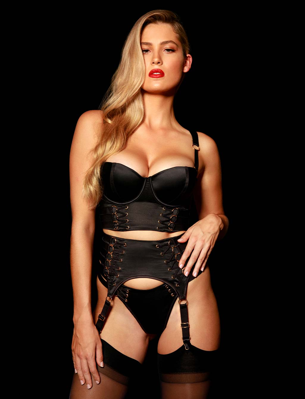 Stevie Black Suspender | Shop  Lingerie Honey Birdette
