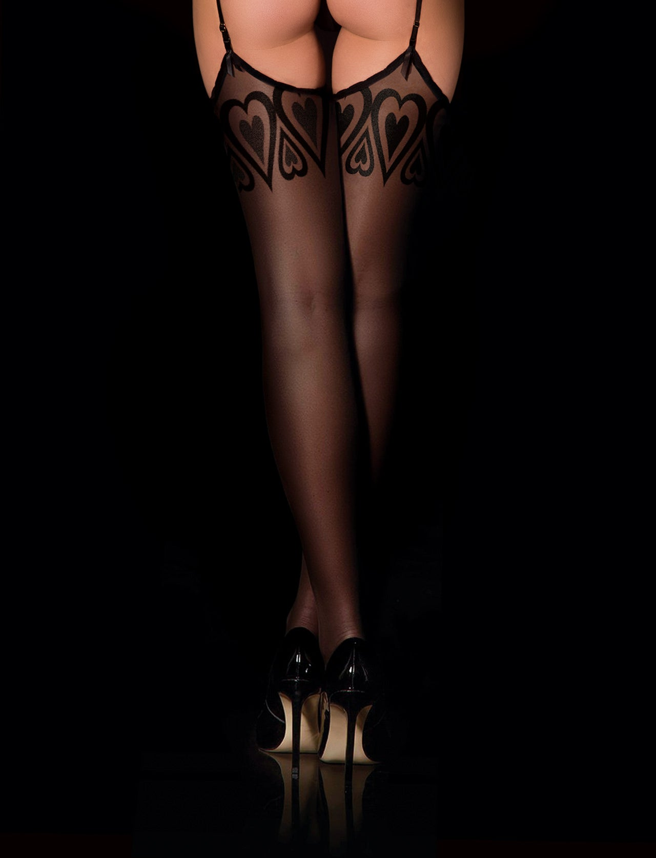 Black Heart Suspender Stockings