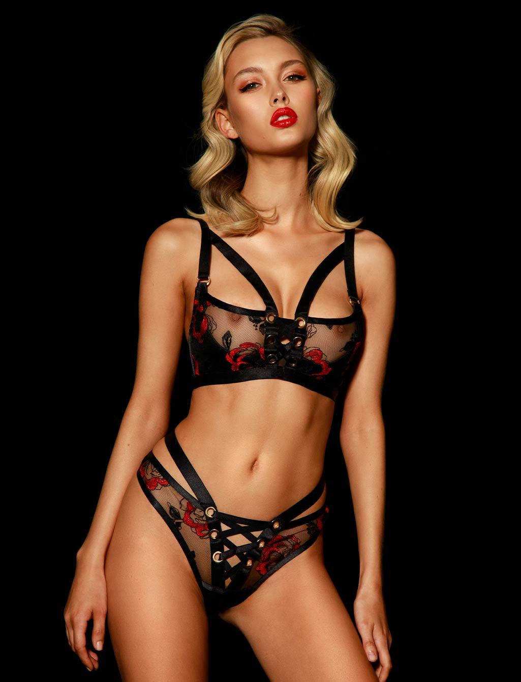 Freyah Lace Up Black & Red Thong - Shop Thongs | Honey Birdette