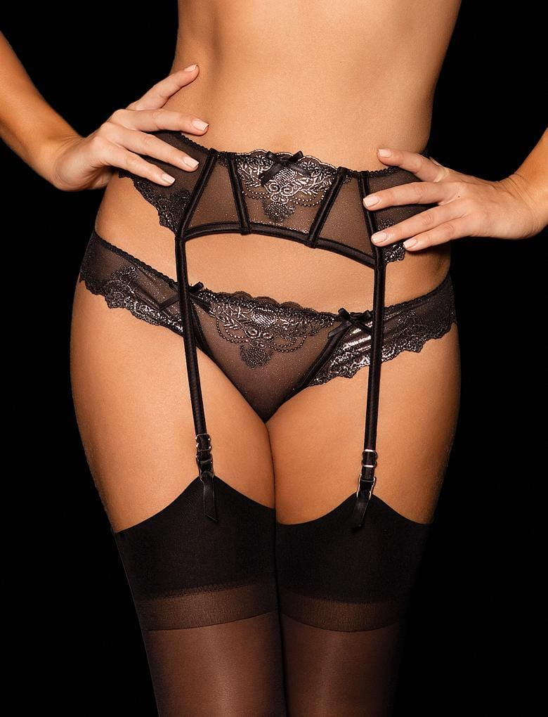 Natalie Silver Lace Suspender - Shop Lingerie | Honey Birdette