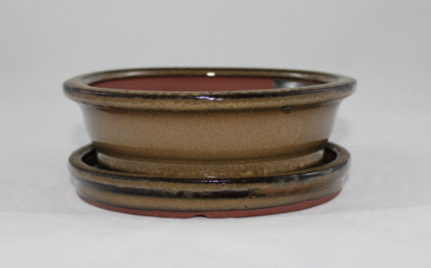 Glazed Bonsai Pot  (GO6B-01OLV)