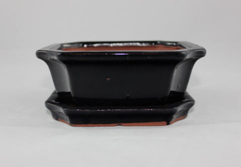Glazed Bonsai Pot  (GR6B-03BLK)
