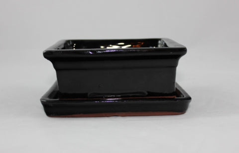 Glazed Bonsai Pot  (GR6B-04BLK)