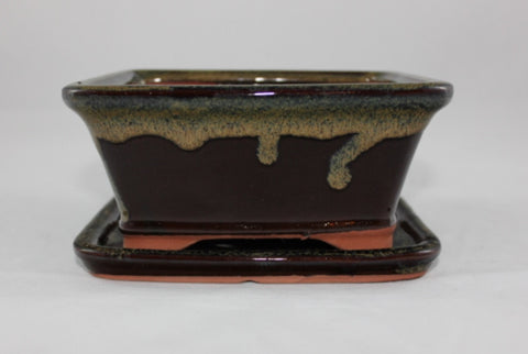 Glazed Bonsai Pot (GR6B-05MOT)
