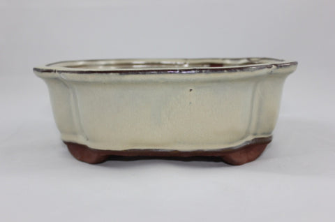 Glazed Bonsai Pot (GR8-04CRM)