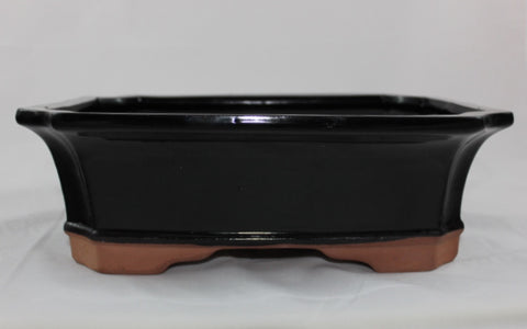 "Glazed Bonsai Pot 10"" (GR10-04BLK)"