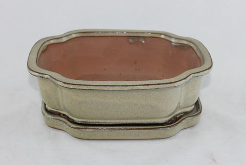 "Glazed Bonsai Pot 8"" with Humidity Tray    (GR8B-04CRM)"