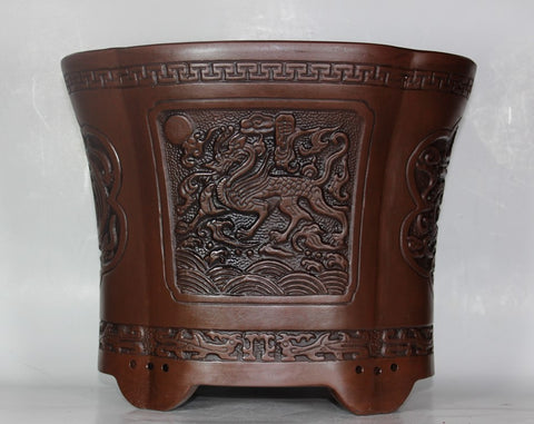 "Glazed Cascade Bonsai Pot 12""      (GQE-001S)"