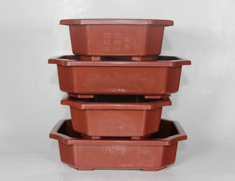 "Plastic Bonsai Training Pots 7.25"" Set of Four (PLR-73-4)"