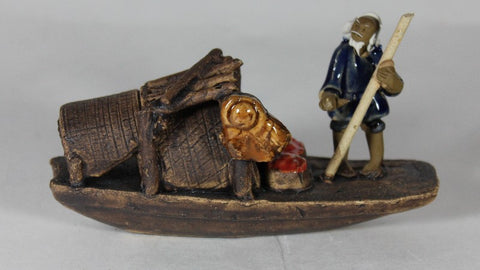 "Glazed Fishing Mudman on Boat Figurine 2.5"" x 4""     (GFM-101)"