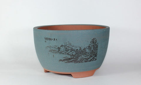 "9.5"" Matte Glazed Bonsai Pot - Round  (ZH-00025-M)"