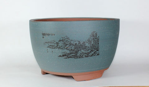 "11.25"" Matte Glazed Bonsai Pot - Round  (ZH-00025-L)"