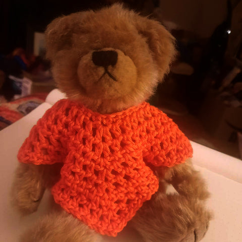 Picture of a Ty Teddy Bear wearing a crocheted orange poncho