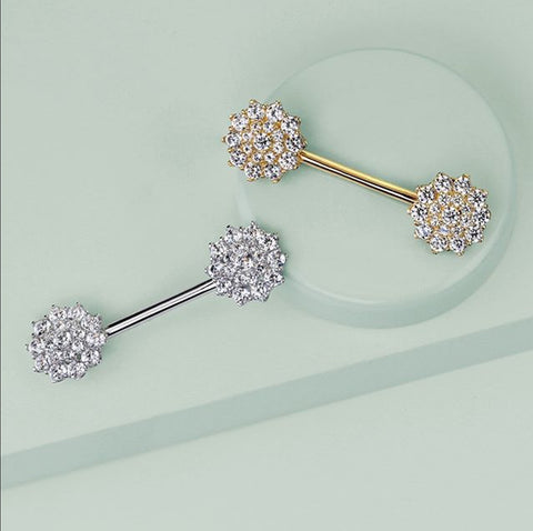 14k White Gold Ritzy Tits Nipple Ring
