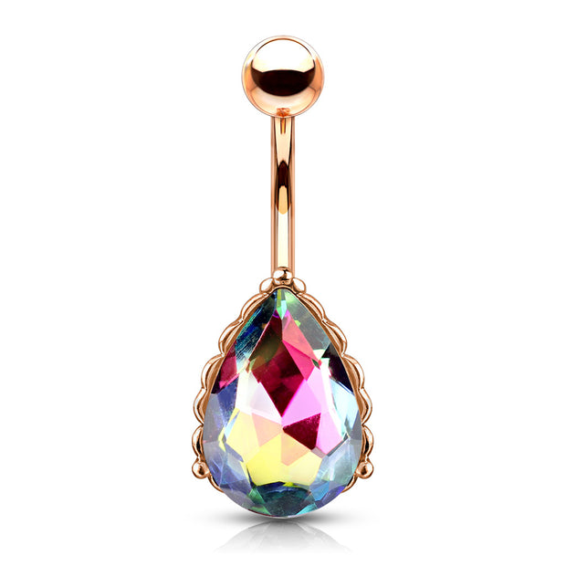 Vitrail Medium - The Lady Aurora Filigree Belly Bar in Rose Gold