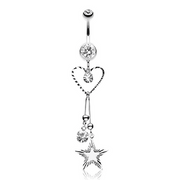 Baby You're a Star Heart Belly Dangle