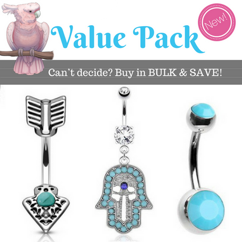 Turquoise Gemstone Value Pack Belly Rings