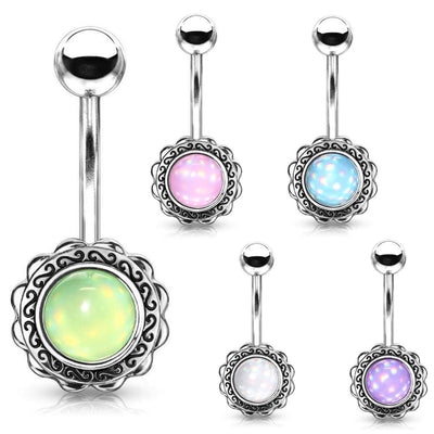 Bohemian Wave Frame Belly Ring. Various Colours. 14g, 10mm 316L Steel