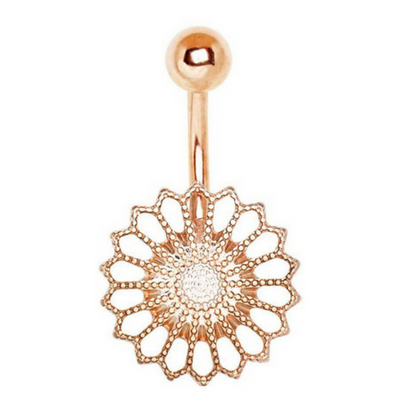 Mandala's Ritz Belly Ring. 14K Rose Gold Plated Belly Bar 10mm 14g