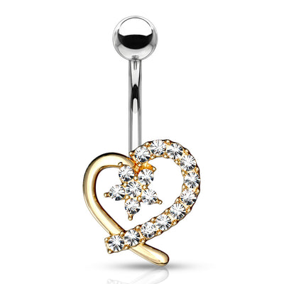 Amors Blooming Heart Belly Bar in Gold