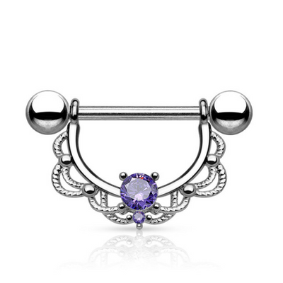 Tanzanite Gem Filigree Nipple Ring