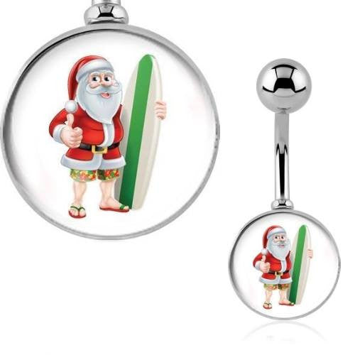 Surfing Santa Claus Christmas Belly Ring