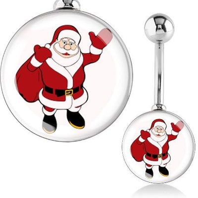 Waving Santa Xmas Navel Ring