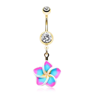 Golden Paradise Blue Frangipani Belly Dangle
