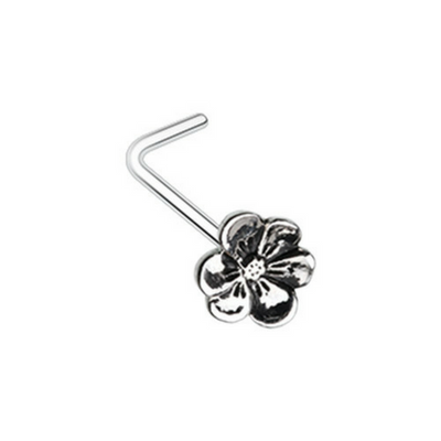 Hellebore Flower L-Shape Nose Ring
