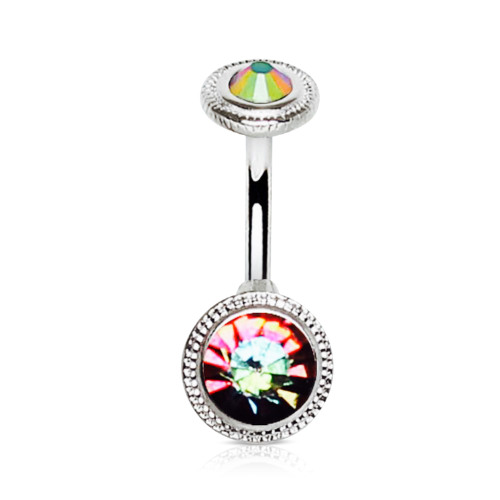 Rainbow Vitrail Gems Belly Bar