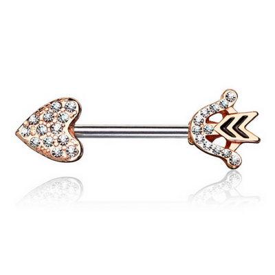Crystal Romeo Arrow Nipple Barbell in Rose Gold
